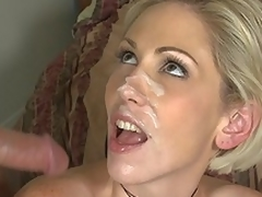 Kasey Grant gets facial cock juice fountain