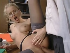 Glassed Anal Slut Dora Venter Gets Drilled and Facialized In The Office