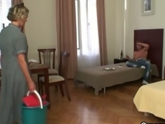 Lewd after a party, guy receives aged cleaning lady to blow him