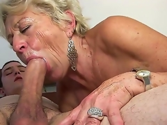 Mature golden-haired wench Malya enjoys younger stud in nasty hardcore sex session