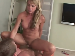 Mature blond Shayla Laveaux enjoys engulfing on a huge wang previous to fucking it hard