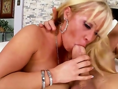 Arousing shlong loving golden-haired milf Austin Taylor with large jaw dropping round ass and whorish enormous make up seduces tattoos fellow and rides on his shlong like there is no tomorrow.