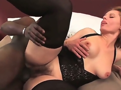 Precious golden-haired with natural medium pointer sisters Magda getting passionately screwed in her shaggy muff by her beefy black fucker.