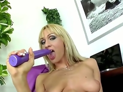 Provocative whorish golden-haired milf Cherry Cock juice with cheep enormous make up and lengthy nails in nylons and high heels teases and stuffs soaked love tunnel with lengthy violet vibrator to orgasm.