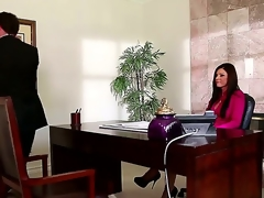 India Summer works in a large company and has a large salary, but her boss doesnt like to pay her so much. One day, this chab came to discuss that thing and received an awesome deepthroat.