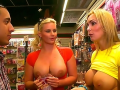 Phoenix Marie and Tanya Tate have a date with the same dude at the same time and they decide to share his cock giving him one of the superlatively good blowjobs ever.