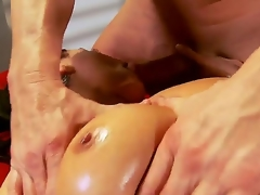 Charley Pursue just finished her work and decided to go for a horny oiled massage, this pumped up guy will fuck that bitch in all of her tight holes like never before, take a look!