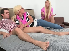 Sexy blond mother, Puma Swede, overheard her daughter, Vanessa Cage, fucking with her friend, then decided to step in and educate her daughter