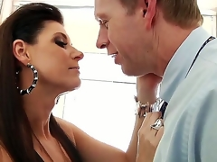 India Summer gives Mark Wood a blow job in the bathroom. This black haired temptress looks absolutely stunning as this hottie sits astride the toilet seat in her sexy underclothing and fish net stockings as this hottie sucks on Marks hard cock.