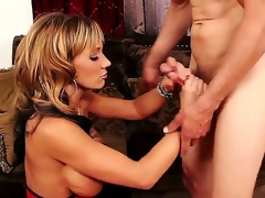 Horny and tattooed dude Chris Johnnson gets his hard and large ramrod sucked by a lovely blonde milf with large honkers Nikki Sexx on her knees in her living room and ejoys