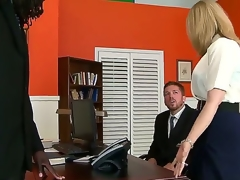 Great interracial sex with Nathan Threat and Nina Hartley. This mature woman looks hot as this babe sits on an office desk and, widens her pants open and shows of her tight aperture as her man acquires down on his knees before them.
