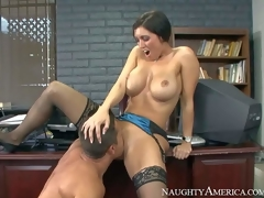 Dylan Ryder is a big boobed milf that has unthinkable sex with one of her students behind the closed door of her office. Big racked dark brown in stockings gets her experienced bawdy cleft eating after sucking his young dick with excitement