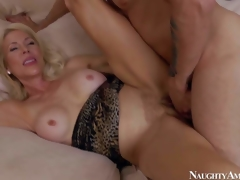 Slutty and aroused blonde milf with large boobs Erica Lauren enjoys in seducing her young neighbor Mr. Pete and getting her hairless indecent cleft slammed hard on the sofa in bedroom
