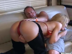 Breasty older blonde momma with big boobs in hawt cowgirl pants and red bikini enjoys in teasing her paramour and giving head on the bed in front of the webcam
