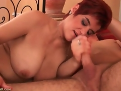 Chubby aged redhead sucks on youthful man pecker