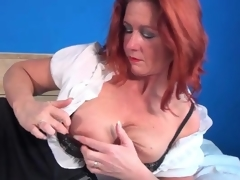 Petticoat and blouse on aged redhead in erotic porn