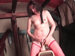 Sexy solo sex-toy ride with hairy hair milf