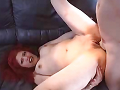 Red-haired gal with a smooth fur pie drilled by a guy
