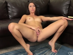 Hawt darksome brown cutie, Anna Morna, makes a soaked mess of her vagina