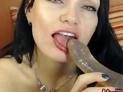Dark brown german cutie does a webcam show. You wil