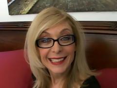 Sweety blonde granny in glasses Nina Hartley talking impure in the bedroom