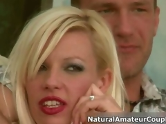 Hot blonde old bag gets sex-mad talking