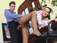 Lusty older angel in control top tights luring policeman into fucking frenzy