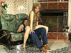Slutty mom in silky hose giving legjob burning with desire for hard drilling